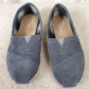 Toms Corduroy Grey Lined Flats